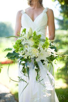 Green & white wedding bouquet - Bells of Ireland flowers. Tropical lily orchid cascade modern bouquet