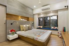 Janki kutir apartment modern style bedroom by the design house modern Bedroom False Ceiling Design, Bedroom Furniture Design, Modern Bedroom Design, Small Room Bedroom, Master Bedroom Design, Home Interior Design, Master Bedrooms, Indian Home Design, Indian Home Decor