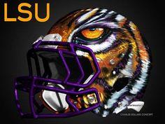 The Best College Football Alternate Helmet Concepts Lsu Helmet, Ohio State Helmet, Cool Football Pictures, Cool Football Helmets, College Football Uniforms, Lsu Tigers Football, College Fun, Louisiana, Conference