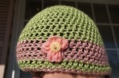 Crochet Striped Light Green and Pink Beanie With by ToniDStudio