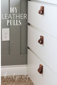 DIY Leather Pulls - The Wood Grain Cottage DIY Leather Pull Tutorial! Perfect for cabinets and doors! See the full step by step tutorial by The Wood Grain Cottage. Diy Cabinet Doors, Diy Cabinets, Cabinet Hardware, Filing Cabinet, Diy Interior, Interior Paint, Diy Leather Drawer Pulls, Diy Projects Design, Diy Design