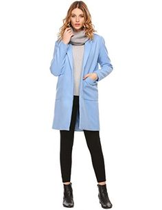 Womens Winter Turn Down Collar Slant Pockets Longline Toggle CoatBLUEM >>> To view further for this item, visit the image link. (This is an affiliate link)