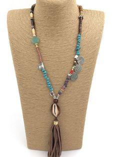 New fashion design elegant women long charm wood stone beaded chain leather tassel long Necklace