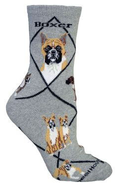 Boxer Dog Gray Cotton Ladies Socks