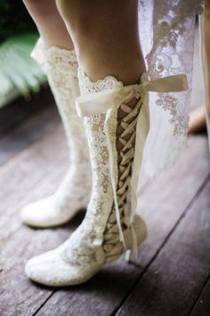 lace tie up wedding #boots @weddingchicks