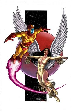 Dawnstar and Wildfire by George Perez AND Tom Smith, in Fred Bronaugh's Framed work Comic Art Gallery Room Comic Book Artists, Comic Books Art, Comic Art, Dc Comics, Comic Book Characters, Comic Character, Saturn Girl, Timberwolf, Legion Of Superheroes