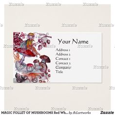 MAGIC FOLLET OF MUSHROOMS Red White Fantasy Business Card #fantasy #floral #swirls #watercolor #autumn #fall