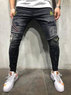 Lovely Casual Hollow-out Deep Blue Jeans Comfort clothing for women staying at home. New arrival fashion clothing. 2020 newest clothing. Shop now fast shipping. Streetwear Jeans, Skinny Biker Jeans, Ripped Jeans Men, Skinny Fit, Denim Jeans, Men Street, Street Wear, Outfits, Vestidos