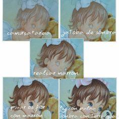 Pintura em tecido | passo a passo | cabelinho | cabelo de bebê China Painting, Tole Painting, Fabric Painting, Fabric Art, Artist Painting, Colouring Pics, Coloring Pages, Painted Rocks, Hand Painted