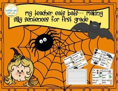 My teacher eats bats Making silly Halloween Sentences for First GradeSimply cut, laminate and use for a game, station or worksheets.  Children make silly sentences using naming and action parts.  My kiddos enjoyed using this as a morning meeting game and a choice activity when they completed required work.This packet can be used in many different ways.It can be a game, station, read and write the room, an intervention or any way that you need to meet the needs of your class.