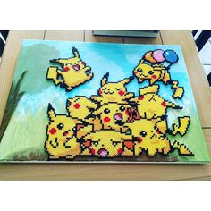 Pikachu Pokemon perler bead art on canvas by Rachel's Dreamland