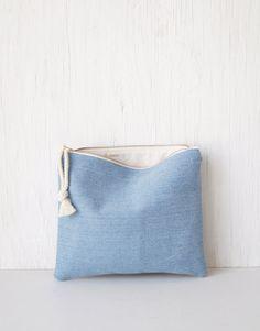 Light denim clutch purse. Large makeup bag. Foldover clutch. Wristlet. Pochette. Handbag. Zipper pouch. Womens fashion. Outfit. Boho fashion. Etsy. Trendy