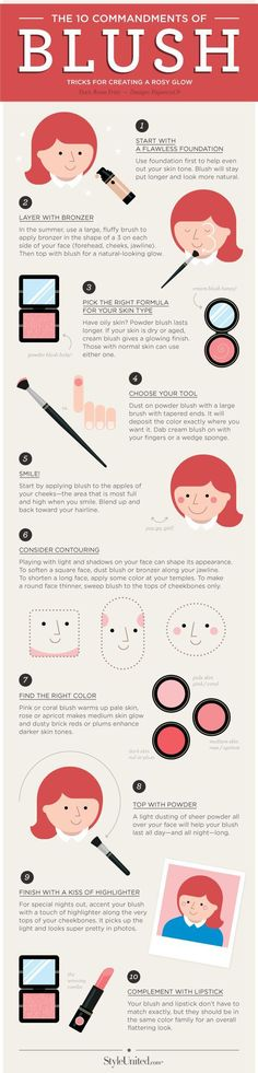 Blush brightens up your face in all the right places and accentuates your natural coloring. Check out this simple guide for 10 tips and tricks to apply blush for the best results, making sure you look your best all day. Eye Makeup, Kiss Makeup, Hair Makeup, Blusher Makeup, Makeup Blush, Makeup Kit, Beauty Make-up, Beauty Secrets, Beauty Hacks