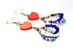 Love earrings from glass beads and a small by HamelinsSecretGarden, $12.00