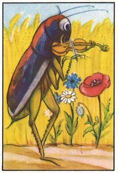 Die Geschichte von Körnli und Rispli published by Chocolats Nestlé, thanks to Michael Studt. Maija Karma is the artist, as I've been informed. Karma, Bug Art, Animal Antics, Illustration Art, Book Illustrations, Orchestra, Insects, Artist, Painting