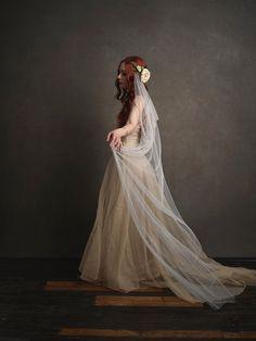 Woodland wedding head piece ivory wedding veil by gardensofwhimsy