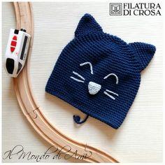 """Berretto gatto per bimbo realizzato con filato """"Zara"""" Filatura di Crosa #berretto #hat #fattoamano #handmade #crochet #uncinetto #filato #filaturadicrosa #gatto #cat #baby #lana #wool  #instacrochet"""