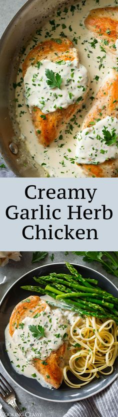 Creamy Garlic Herb Chicken - easy to make, so creamy and delicious and ready in 25 minutes! Love that perfectly golden brown seared exterior. #chickenrecipes #dinner #comfortfood #chicken #cookingclassy