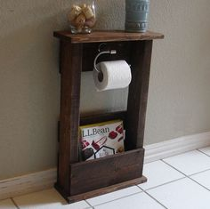 Apartment Diy Space Saving : Toilet Paper Holder Stand with Top Shelf and Storage Pocket for Magazines Paper, Toilets