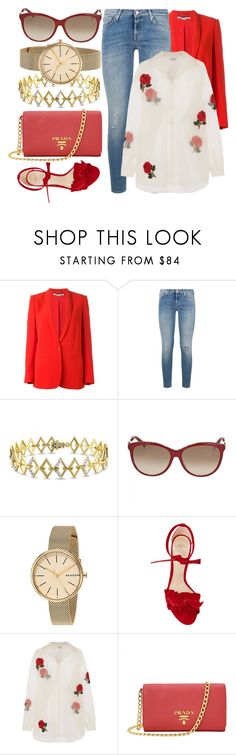 """""""Red Zone"""" by jomashop ❤ liked on Polyvore featuring STELLA McCARTNEY, 7 For All Mankind, Versace 19•69, Gucci, Skagen, Alexandre Birman, Ashish, Prada and red"""