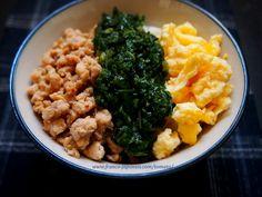 "Donburi-gohan Molokheya モロヘイヤのトリコロール丼 http://franco-japonais.com/tomato/ マダムTOMATOの""グルメ・ガーデン"""