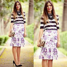#stealthelook #look #looks #streetstyle #streetchic #moda #fashion #style #estilo #inspiration #inspired #prints #stripes #blusa #maxicolar #midi #saia #scarpin