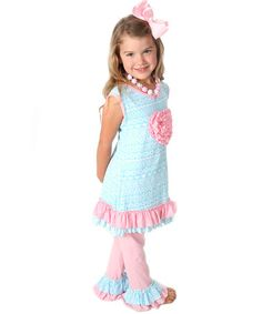 This Aqua & Pink Ruffle Tank & Pants - Infant, Toddler & Girls is perfect! #zulilyfinds