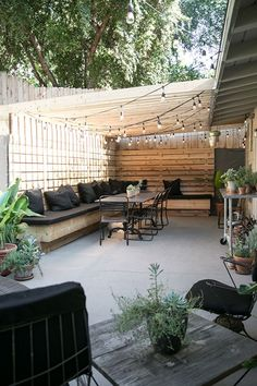 my patio: before after 2019 Cute backyard gathering area. Love the banquette style seating which looks wide enough for a nap. Must be so pretty at night wit the lights on The post my patio: before after 2019 appeared first on Backyard Diy. Small Backyard Landscaping, Small Patio, Landscaping Ideas, Backyard Pergola, Small Yards, Pergola Kits, Desert Backyard, Cozy Backyard, Pergola Roof