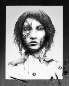 The Endless Faces Series - PEZ Artwork Nantes, France Mini series of 5 portraits Graphite pencils on paper Size : Art Du Croquis, Best Pencil, Hyperrealism, Sketch Painting, My Escape, Graffiti Art, Art World, Pencil Drawings, Art Sketches