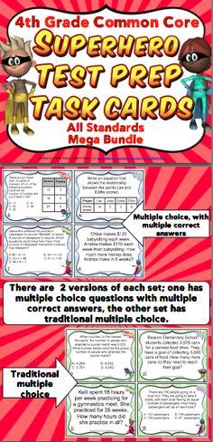 Grade Math Test Prep Task Cards (Superhero Theme): Help your students… 4th Grade Math Test, 3rd Grade Classroom, Fourth Grade, Third Grade, Superhero Classroom, Classroom Ideas, Math Task Cards, Summer Reading Program, Test Prep