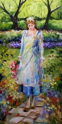 A Walk in the Garden - oil by Laurie Justus Pace (via DailyPainters)