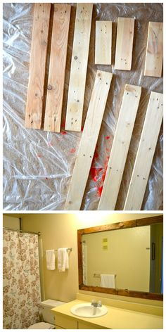 Diy mirror frame for apartments - pallet Diy Mirror Frame Bathroom, Pallet Bathroom, Framed Mirrors, Bathroom Ideas, Pallet Frames, Pallet Mirror Frame, Rustic Frames, Cheap Mirrors, Diy Vanity