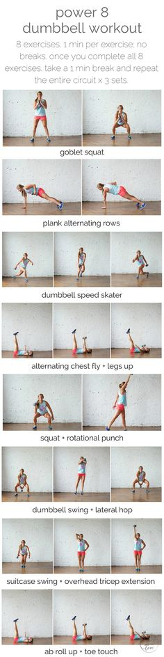 power 8 dumbbell workout   power 8 is a total body workout based of 8 extremely effective exercises that require just one dumbbell.   www.nourishmovelove.com