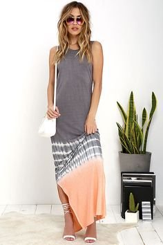 f9c79ccfcaa Olive   Oak Shades of Sunshine Peach and Grey Tie-Dye Maxi Dress