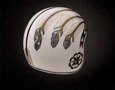 Indian head dress motif, custom art Bell helmet
