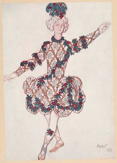 By Leon Bakst (1866-1924), ca.1923, The Sleeping Princess, 'Planche IX: 'Le Page de la Fée Cerise'.