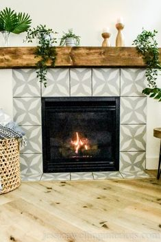 This faux cement tile fireplace is an easy DIY with some paint and a stencil! It's easy to create modern patterns on a backsplash concrete floor front porch accent wall or even floor with these stencils! Treatment Projects Care Design home decor Fireplace Tile Surround, Fireplace Surrounds, Paint Fireplace Tile, Fireplace Backsplash, Fireplace Fronts, Easy Tile, Ibiza, Ikea Home Office, Home Depot Paint