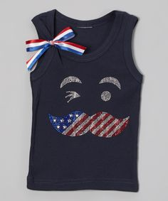 Love this Navy American Mustache Sparkle Tank - Infant, Toddler & Girls by Ready Set Sparkle Couture on #zulily! #zulilyfinds