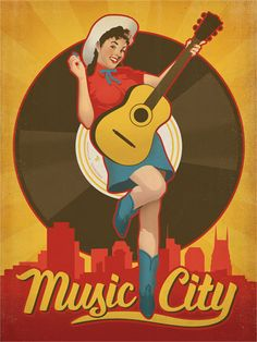 Music City Pinup Girl - Nose Art that adorned World War II bombers and fighter planes often featured wonderfully stylized ladies. This Music City print pays homage to the sweetly evocative art that kept our soldiers, sailors and airmen fighting for our country and longing for home. Artist Joel anderson referred to archival photos of airplanes for his inspiration on this piece.