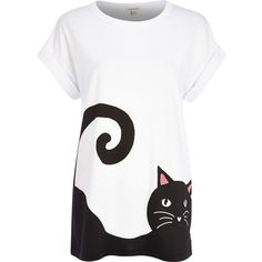 River Island White cat print t-shirt (11.010 CLP) ❤ liked on Polyvore featuring tops, t-shirts, shirts, cat, sale, white shirt, crewneck t-shirt, sleeve t shirt, cat shirt и white cat shirt