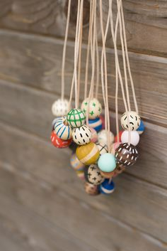 Hand Painted Wooden Bead Necklace in Pink Lemonade