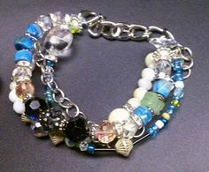 Love & Artistic Expression  Turquoise, Aquamarine, Austrian crystals, Jet, Pearls, and Shambala beads. $45