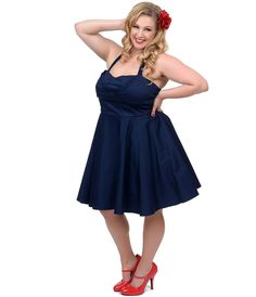 Plus Size Navy Fit N Flare Short Halter Dress