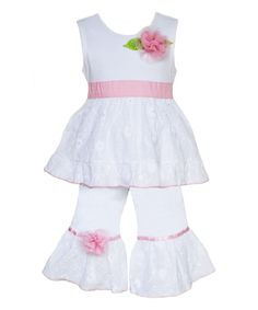 Another great find on #zulily! White & Pink Camille Tunic & Pants - Infant, Toddler & Girls by  #zulilyfinds