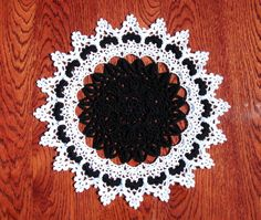 Black and white doily 13.5 inches Crochet round doily Textured relief doily Black and white home decor Mothers day Gift idea Centerpiece - pinned by pin4etsy.com