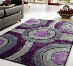 Modern Living Shag Area Rug Style 110 Gray Purple Hand Tufted Weave Hand Carved detail with polyester with cotton Backing for Slip Resistance Plush area rug Living Room Decor Purple, Purple Home Decor, Purple Rooms, Living Room Grey, Living Room Modern, Bedroom Decor, Living Area, Gray Bedroom, Decor Room