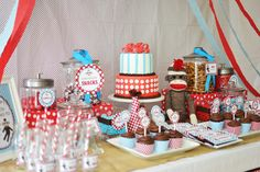 OMG, so cute! Teal and Red Sock Monkey Birthday Party! via Baby Lifestyles. LOVE IT.