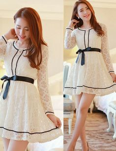 Apricot Round collar Long Sleeve Casual Dress #ShopSimple