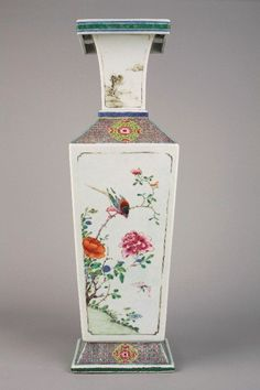 A Chinese porcelain famille rose square vase. Early Yongzheng, circa 1723.  Yongzheng (13 December 1678 – 8 October 1735), born Yinzhen (胤禛), was the fifth emperor of the Manchu-led Qing Dynasty and the third Qing emperor from 1722 to 1735. Like his father, the Kangxi Emperor, Yongzheng used military force to preserve the dynasty's position. His reign was known as despotic, efficient, and vigorous.