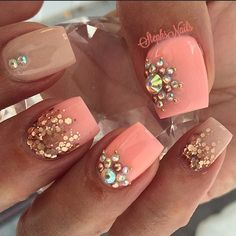 #coral#nude#rosegold#glitter#glitterombre#diamonds#rosegoldstuds#love#cutenails#acrylicnails#jewelrynails#coralnails#stephs#nails